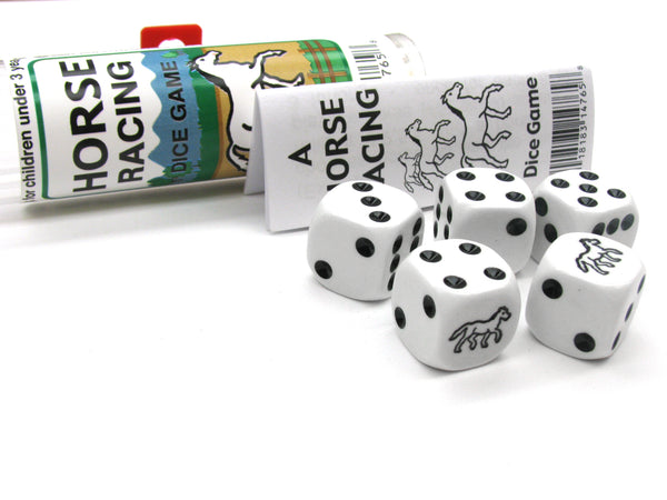 Black Horse Racing Dice Game 5 Dice Set with Travel Tube and Instructions