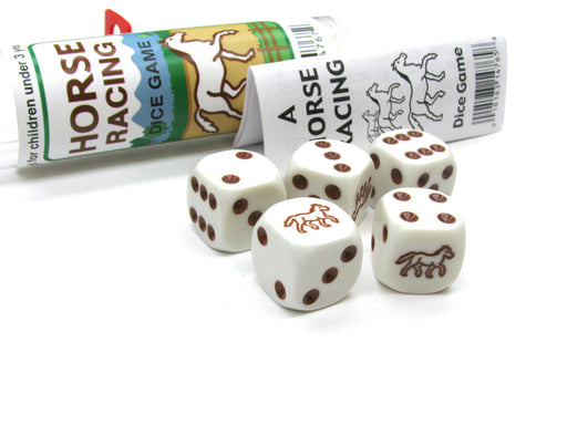 Brown Horse Racing Dice Game 5 Dice Set with Travel Tube and Instructions