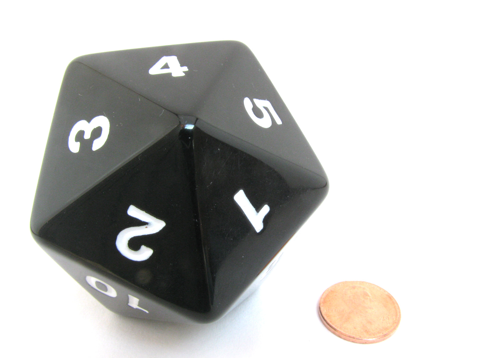 55mm Jumbo 20-Sided D20 Countdown Dice - Opaque Black with White Numbers