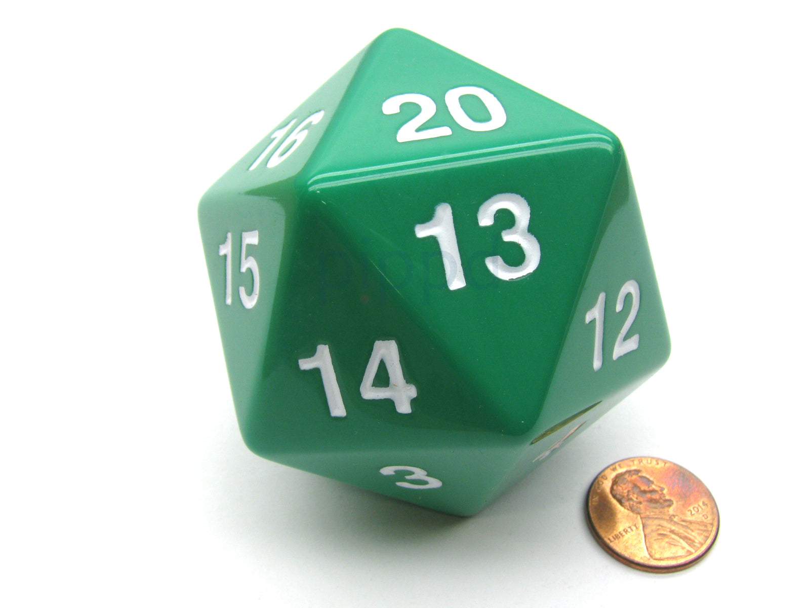 55mm Jumbo 20-Sided D20 Countdown Dice - Opaque Green with White Numbers