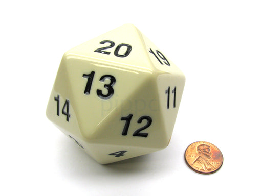 55mm Jumbo 20-Sided D20 Countdown Dice - Opaque Ivory with Black Numbers
