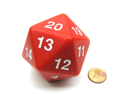 55mm Jumbo 20-Sided D20 Countdown Dice - Opaque Red with White Numbers