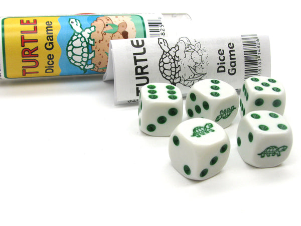 Turtle Dice Game 5 Dice Set with Travel Tube and Instructions