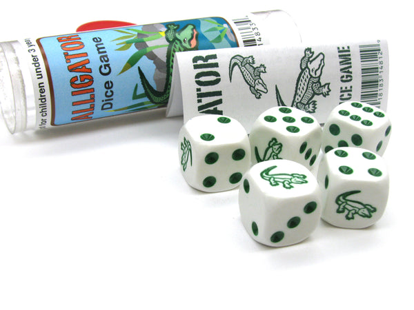 Alligator Dice Game 5 Dice Set with Travel Tube and Instructions