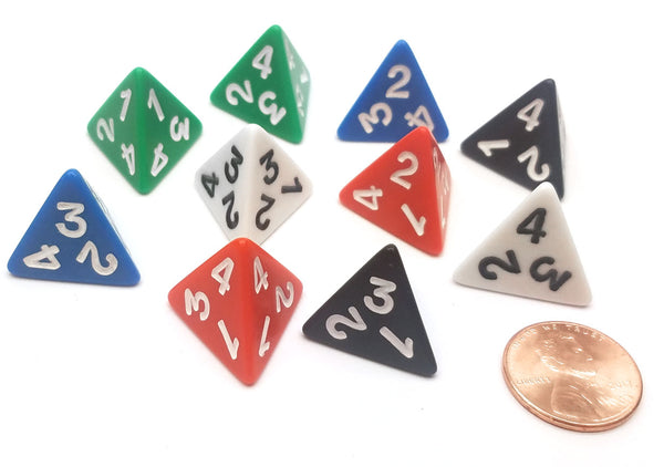 Pack of 10 D4 Opaque 4 Sided Dice - 2 Each of Black, Blue, Green, Red, White
