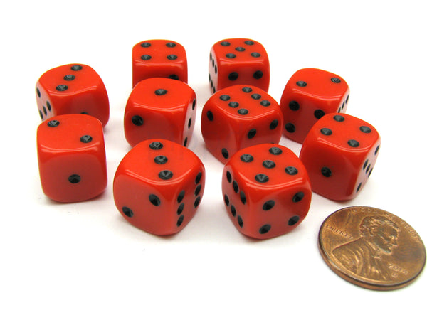 Pack of 10 12mm Round Edge Opaque Small Dice - Red with Black Pips