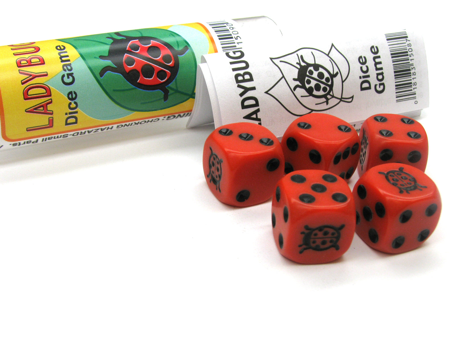 Ladybug Dice Game 5 Dice Set with Travel Tube and Instructions