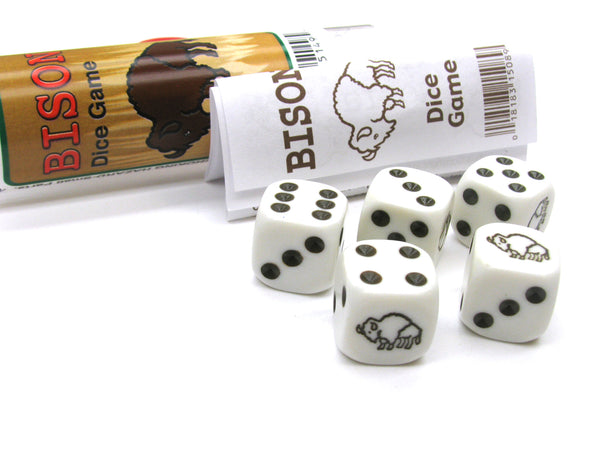 Bison Dice Game 5 Dice Set with Travel Tube and Instructions
