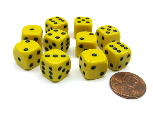 Pack of 10 12mm Round Edge Opaque Small Dice - Yellow with Black Pips