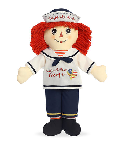 "16"" Support Our Troops Raggedy Andy Classic Plush in Patriotic Uniform"