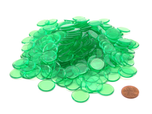 "Pack of 250 Transparent Green Extra Thick 3/4"" 19mm Sorting Chips"