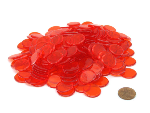 "Pack of 250 Transparent Orange Extra Thick 3/4"" 19mm Sorting Chips"