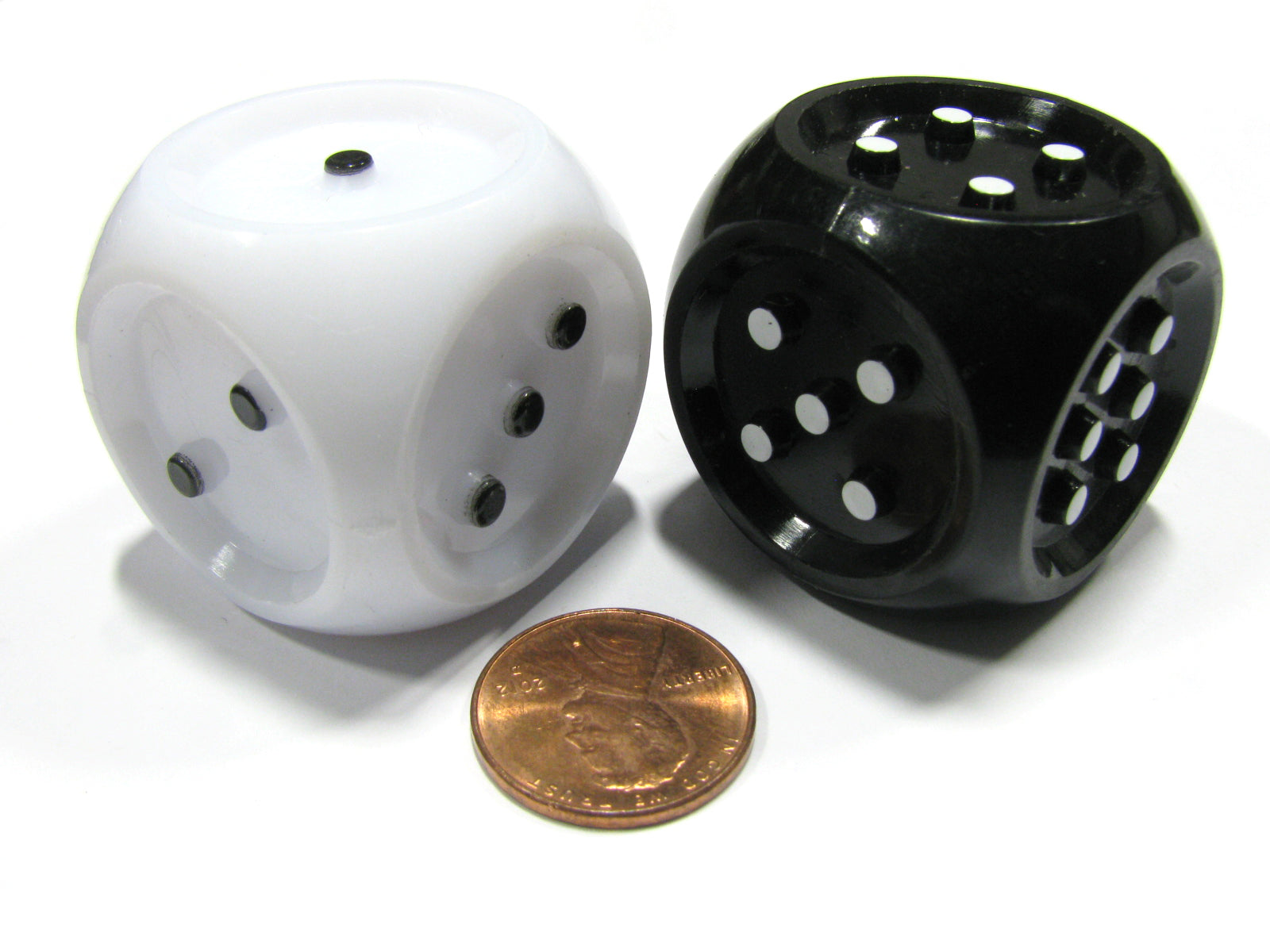 Set of 2 Large 32mm Tactile Dice for Seeing Impaired - Inverse Black and White