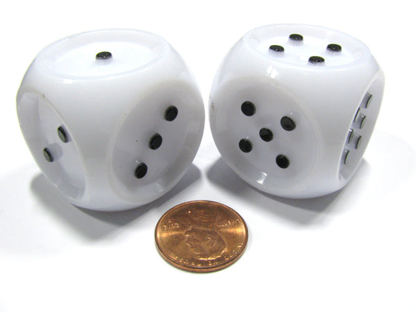 Set of 2 Large 32mm Tactile Dice for the Seeing Impaired - White with Black Pips