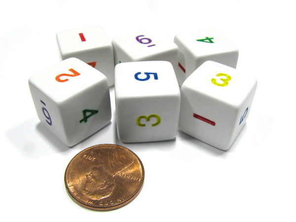 Set of 6 D6 Six-Sided 16mm Opaque Numbered Dice - White with Multicolor Numbers