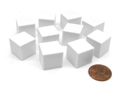 Pack of 10 16mm Blank Foam Dice Cubes with Square Corners - White
