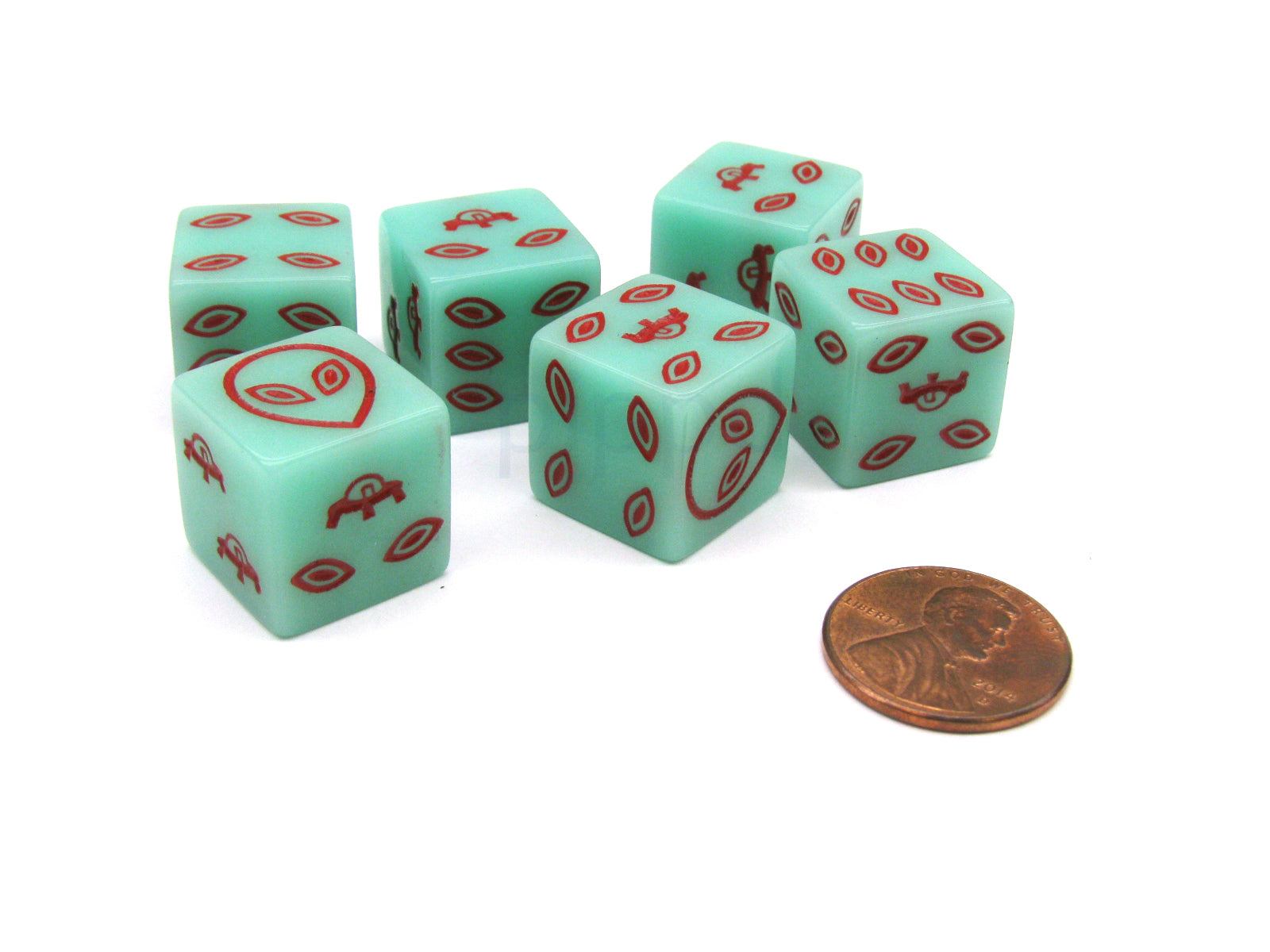 Pack of 6 Alien UFO 16mm D6 Glow in the Dark Dice - Green with Red Etches
