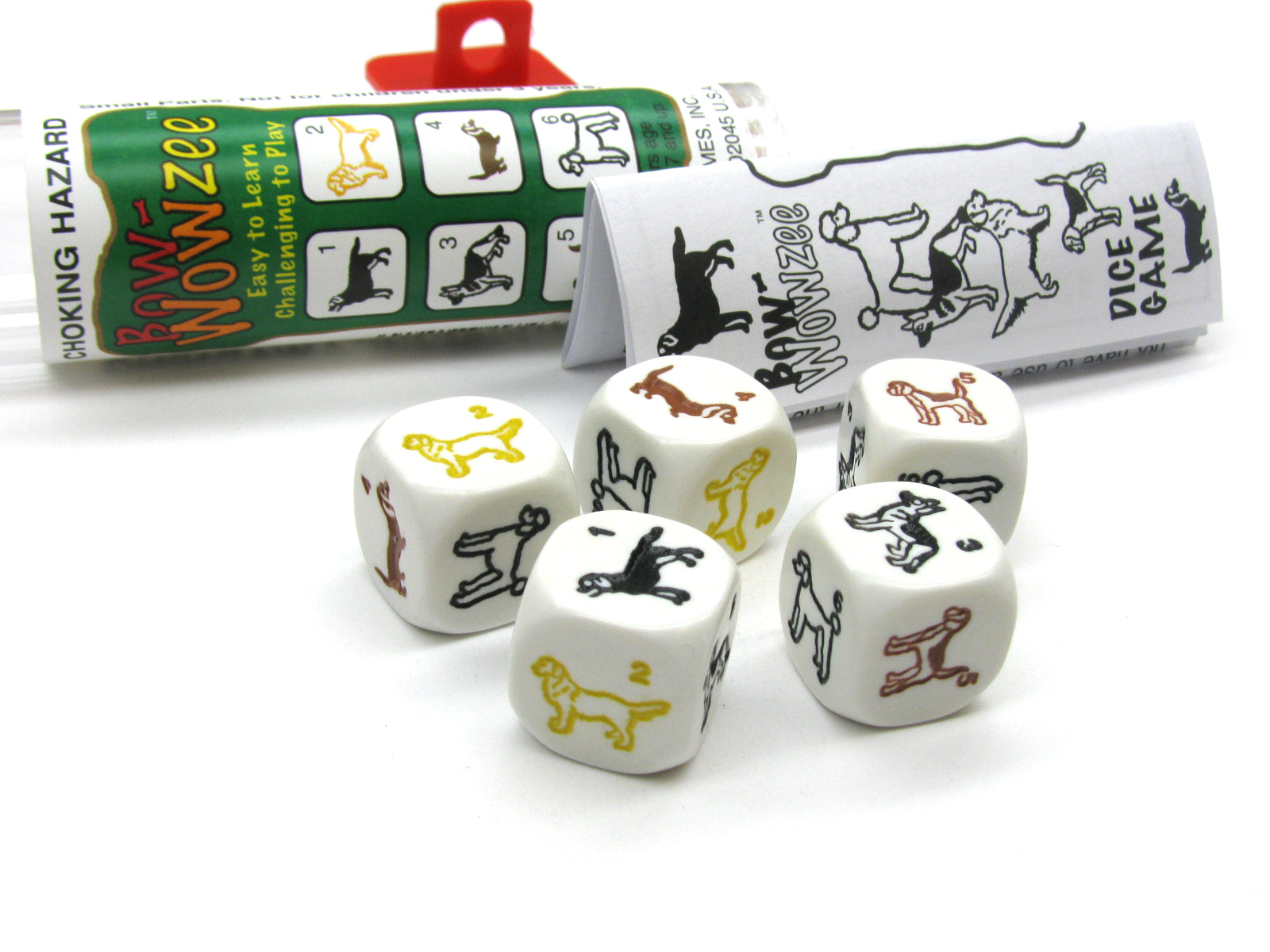 Bow-Wowzee Dog Dice Game 5 Dice Set with Travel Tube and Instructions