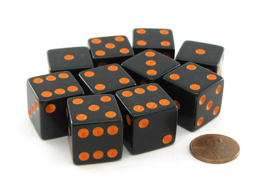 Set of 10 Large Six Sided Square Opaque 19mm D6 Dice - Black with Orange Pips