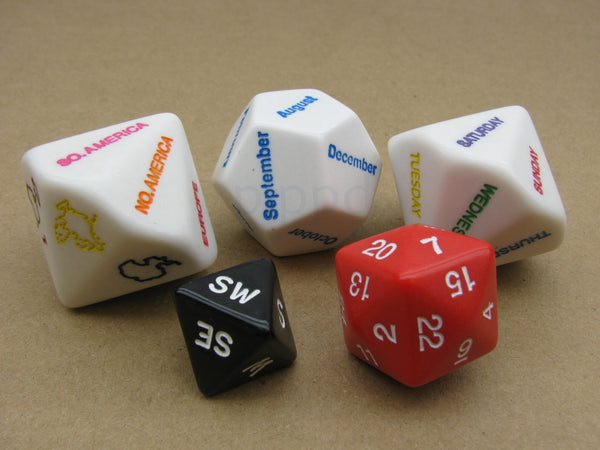 Where Are You? (And When?) Pack of 5 Dice for Role Play D&D Educational