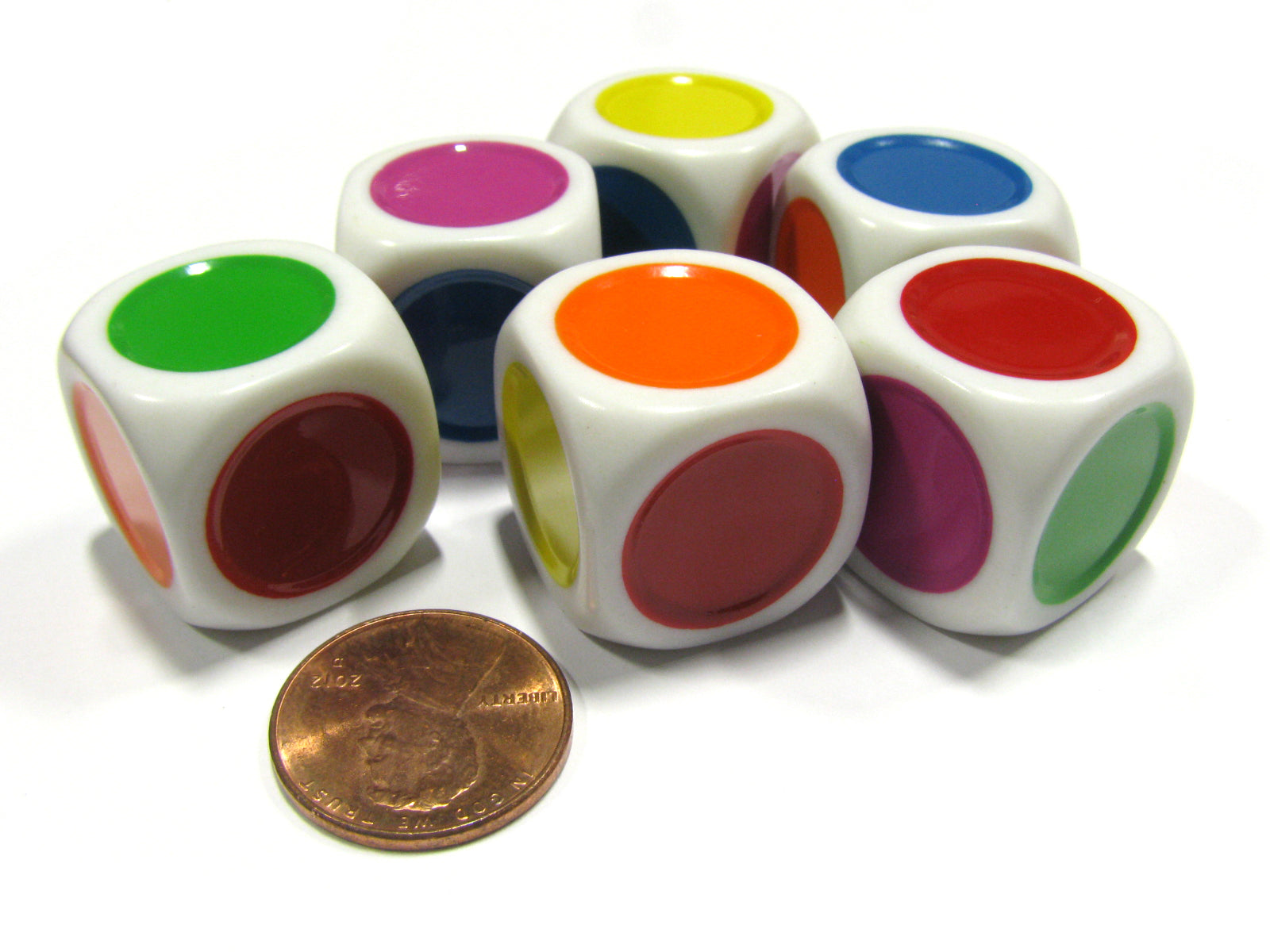 Set of 6 D6 Single Spot 20mm Green Yellow Purple Blue Orange and Red Color Dice