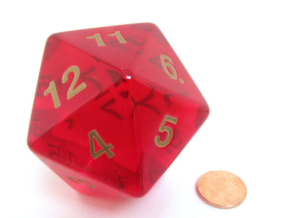 55mm Jumbo 20-Sided D20 Countdown Dice - Transparent Ruby Gold