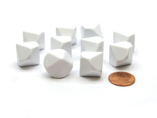 Pack of 10 D10 Blank Standard Sized Dice - White
