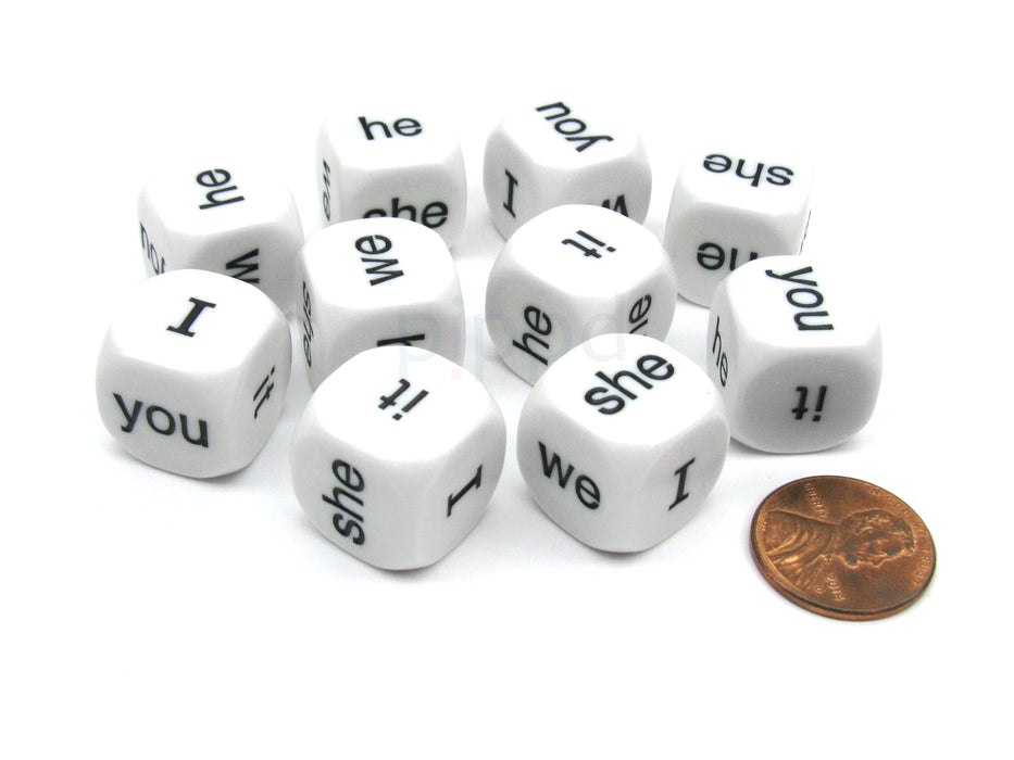 Pack of 10 16mm Educational English Pronouns Dice - I He She We You It