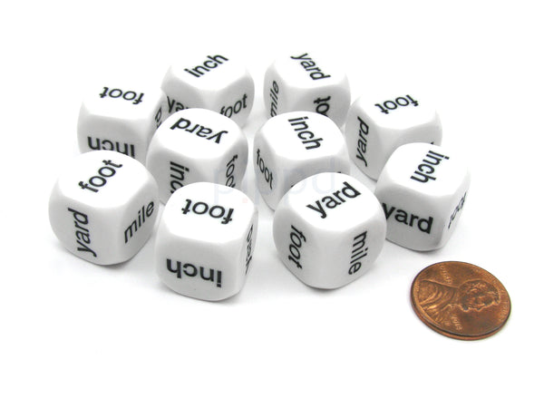 Pack of 10 16mm Math Linear Measurement Dice - inch yard (2) foot (2) mile