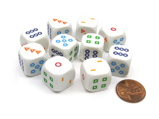 Pack of 10 16mm Educational Color Shapes 1-6 Dice - White with Multicolor Shapes