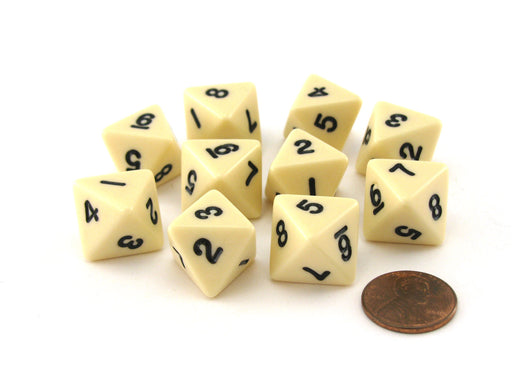 Pack of 10 D8 8-Sided 15mm Opaque Koplow Dice - Ivory with Black Numbers