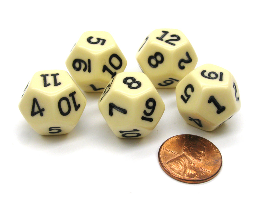Set of 5 D12 12-Sided 18mm Opaque RPG Dice - Ivory with Black Numbers