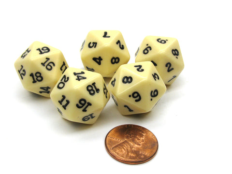 Set of 5 Twenty Sided 19mm D20 Opaque Dice RPG D&D Ivory with Black Numbers Die
