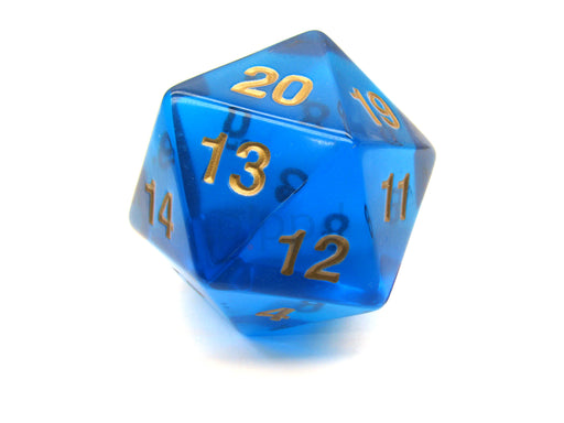 55mm Jumbo 20-Sided D20 Countdown Dice - Transparent Sapphire Gold
