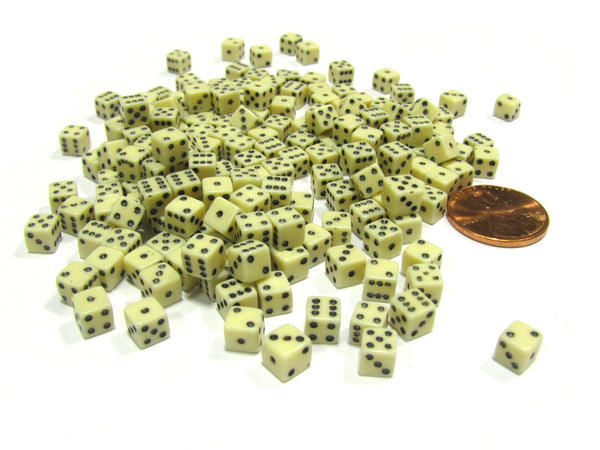 200 Six Sided D6 5mm .197 Inch Die Small Tiny Mini Miniature Ivory Dice