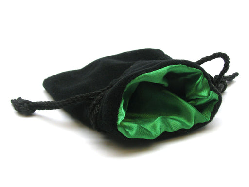 "Velvet Dice Bag with Drawstring 3.75""x4"" - Black with Green Interior"
