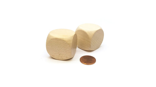 Pack of 2 D6 Large Jumbo 30mm Rounded Blank Wooden Dice - 'Light' Wood