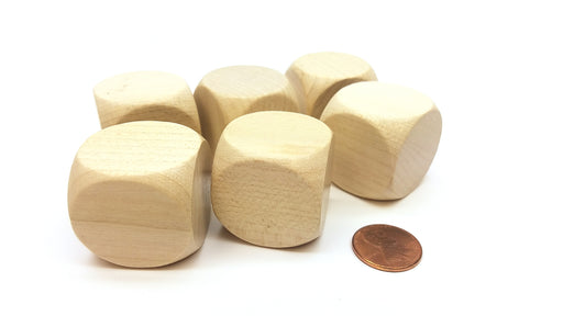 Pack of 6 D6 Large Jumbo 30mm Rounded Blank Wooden Dice - 'Light' Wood