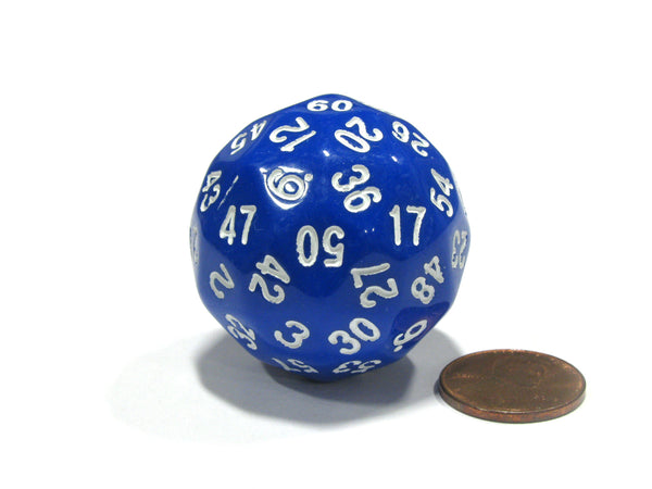 Sixty-Sided D60 35mm Large Gaming Dice - Blue with White Numbers