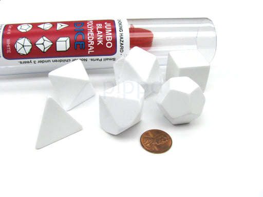 Jumbo Polyhedral RPG 6-Dice Set ~24 to 32mm Tall - Blank White