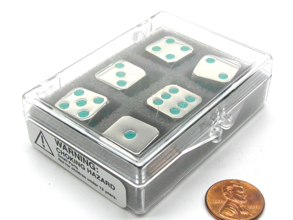 Box of 6 Zinc Metal Alloy D6 15mm Heavy Dice - Green Pips