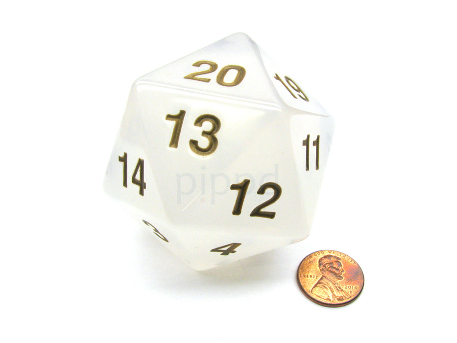 55mm Jumbo 20-Sided D20 Countdown Dice - Transparent Pearl Gold