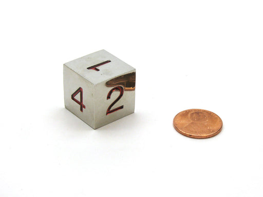 Single D6 20mm Numbered 1 to 6 Metal Die - Silver with Red Numbers