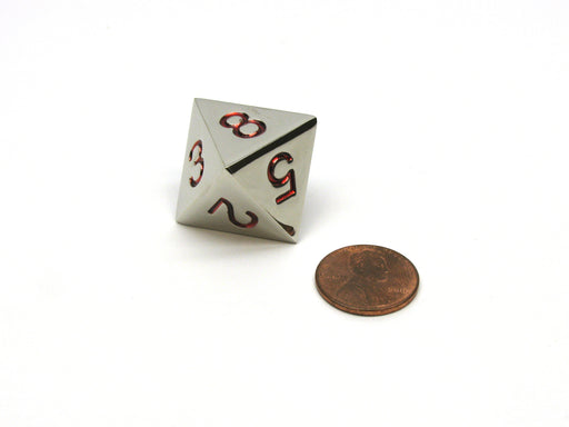 Single D8 20mm Numbered 1 to 8 Metal Die - Silver with Red Numbers