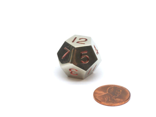Single D12 20mm Numbered 1 to 12 Metal Die - Silver with Red Numbers