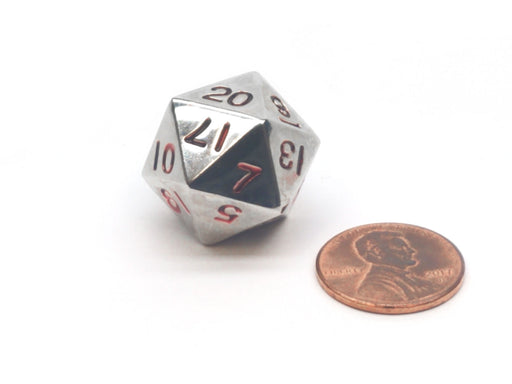 20mm Zinc Metal Alloy 20 Sided D20 Dice - Silver with Red Numbers