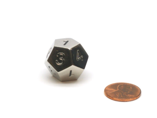Single D12 20mm Metal Die Numbered 1 to 4 Three Times - Silver with Black