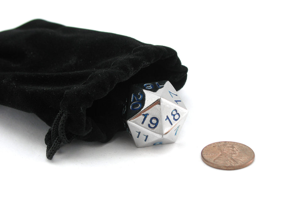 Large 22mm Zinc Metal Alloy Countdown D20 Dice w Black Bag, 1 Pc - Blue Numbers