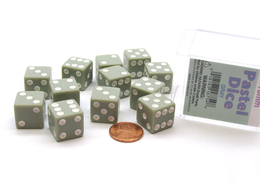 Pack of 12 D6 16mm Pastel Dice in Display Storage Case - Gray with White