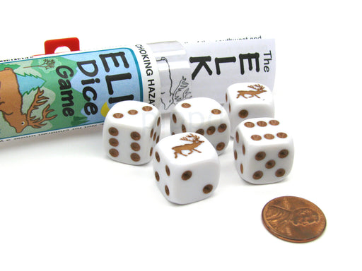 Elk Dice Game with 5 Dice Travel Tube and Gaming Instructions